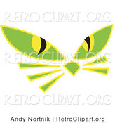 Retro Clipart of Two Green Cat Eyes and Whiskers Glowing in the Dark by Andy Nortnik