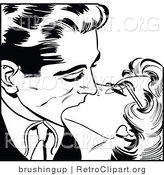 Vector Clipart of a Romantic Man and Woman Kissing - Black and White by Brushingup