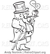 Vector Retro Clipart of a Black and White Leprechaun Smoking a Pipe by Andy Nortnik