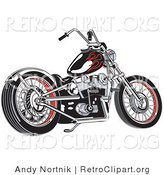 Vector Retro Clipart of a Black Motorcycle with Red Flame Paint Accents on the Tank by Andy Nortnik
