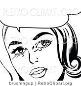 Vector Retro Clipart of a Crying Pop Art Woman in Black and White with Copyspace by Brushingup