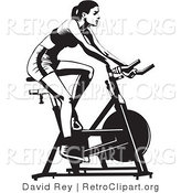 Vector Retro Clipart of a Fit Woman Using a Stationery Bike by David Rey