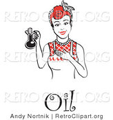 Vector Retro Clipart of a Happy Woman Wearing an Apron, Holding up a Bottle of Cooking Oil, with Text by Andy Nortnik