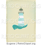 Vector Retro Clipart of a Nautical Light House on Tan by Eugene