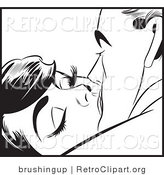 Vector Retro Clipart of a Pop Art Kissing Couple by Brushingup