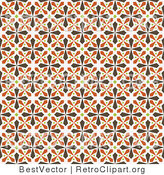 Vector Retro Clipart of a Seamless Brown and Orange Kaleidoscope Cross Background by BestVector