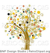 Vector Retro Clipart of a Tree of Dots by BNP Design Studio