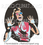 Vector Retro Clipart of a Woman Watching a Horror Movie in 3d by R Formidable