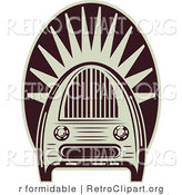 Vector Retro Clipart of an Old Fashioned Radio by R Formidable