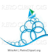 Vector Retro Clipart of Bubbles and a Sailboat by MilsiArt