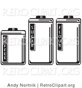 Vector Retro Clipart of Three Storage Canisters in a Kitchen, Labeled Coffee, Sugar and Flour by Andy Nortnik