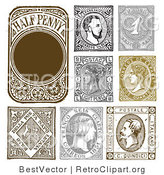 Vector Retro Clipart of Vintage Stamp Designs by BestVector
