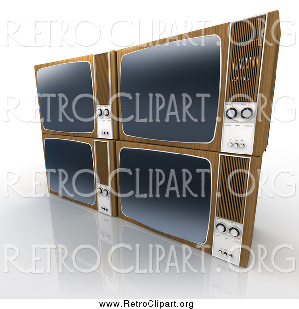 Clipart of 3d Stacked Retro Box Televisions