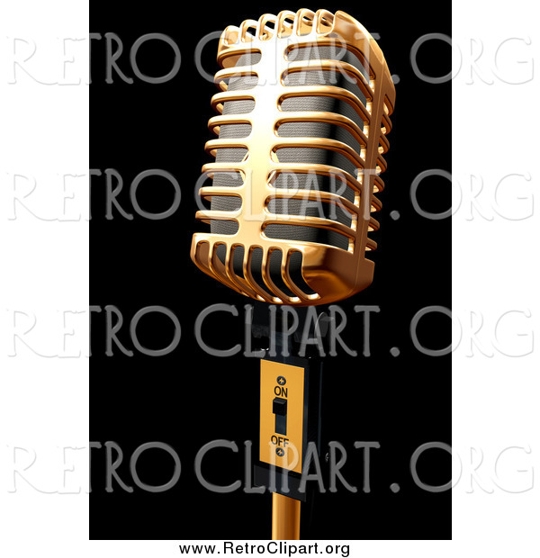 Clipart of a 3d Gold Microphone on Black
