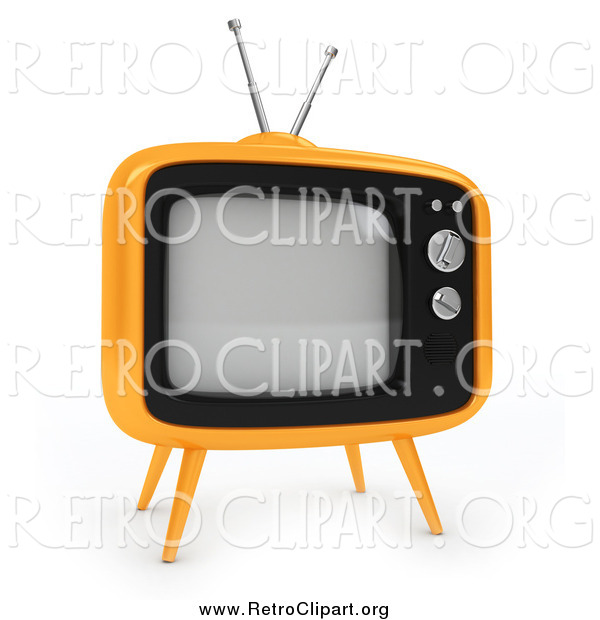 Clipart of a 3d Retro Yellow Box Tv