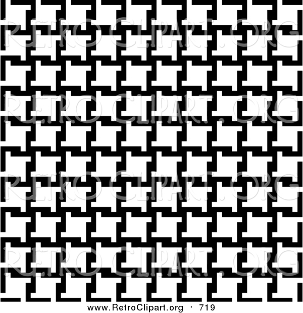 Clipart of a Background of Black and White Houndstooth Pattern