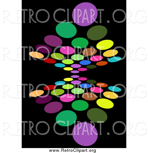 Clipart of a Background of Colorful Circles Reflecting on Black