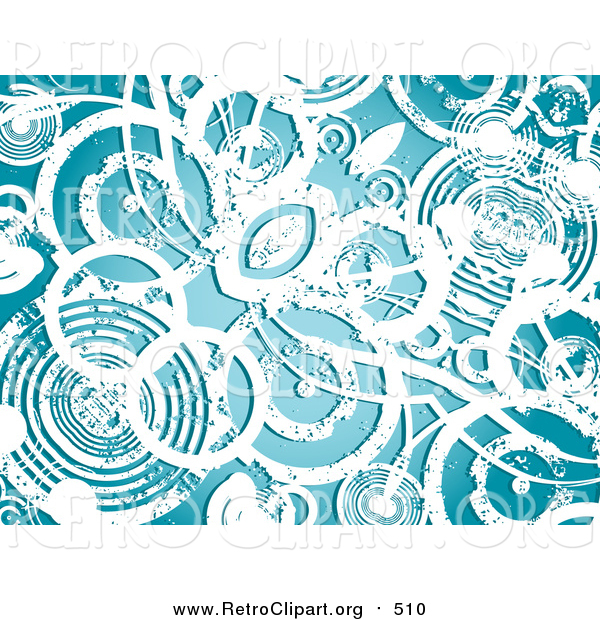 Clipart of a Background of Grunge White Circles over Blue