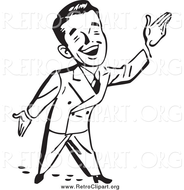 Clipart of a Black and White Happy Retro Businessman Gesturing up to the Right