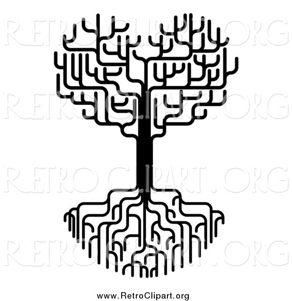 Clipart of a Black and White Heart Tree with Bare Branches and Roots