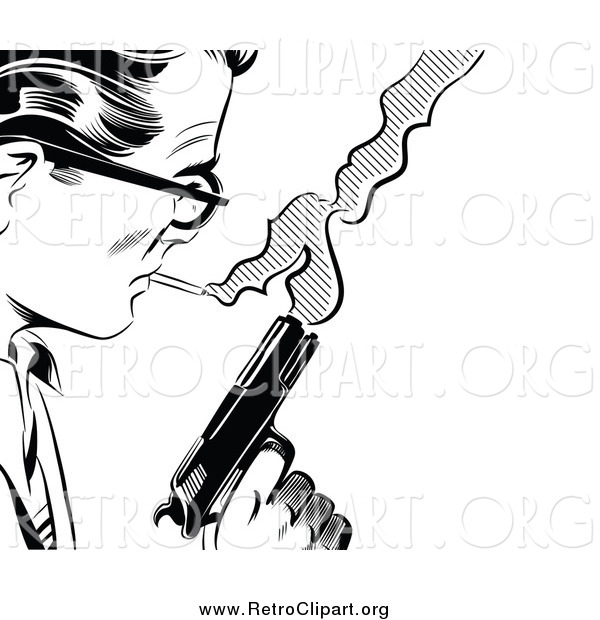 Clipart of a Black and White Retro Pop Art Man with a Cigarette and Gun