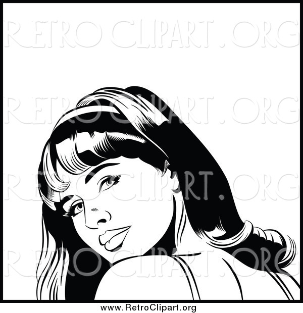 Clipart of a Black and White Retro Pop Art Woman Looking over Her Shoulder