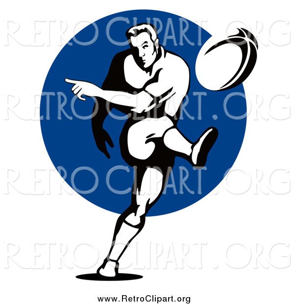 Clipart of a Black and White Retro Rugby Football Player Kicking over a Blue Circle