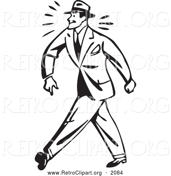 Clipart of a Black and White Retro Tough Businessman Walking
