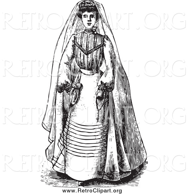 Clipart of a Black and White Vintage Bride in a Gown