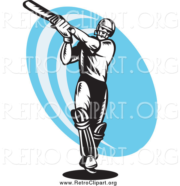 Clipart of a Black and White Woodcut Retro Cricket Batsman over a Blue Oval