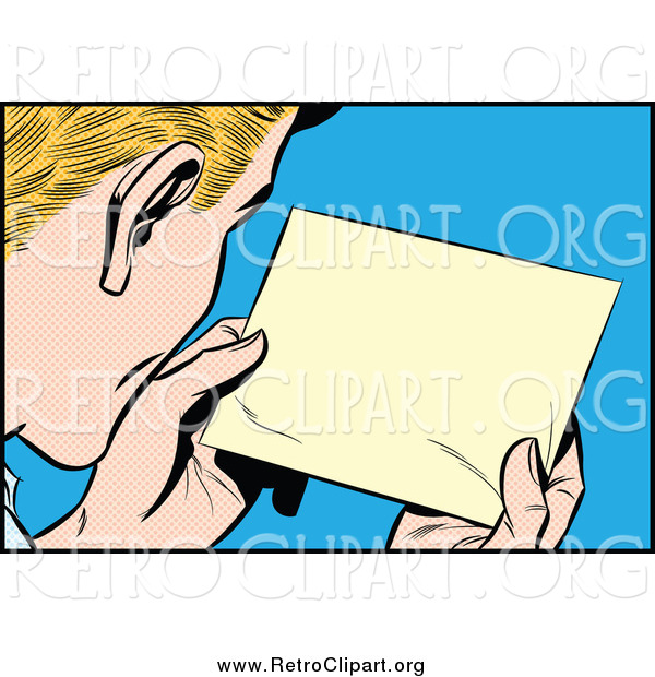 Clipart of a Blond White Pop Art Man Reading a Message
