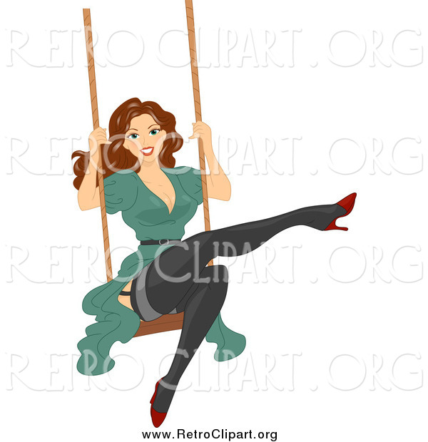 Clipart of a Brunette Woman Swinging in Stockings