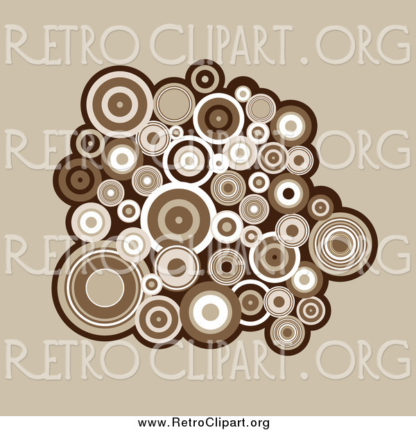 Clipart of a Cluster of Brown and White Retro Circles