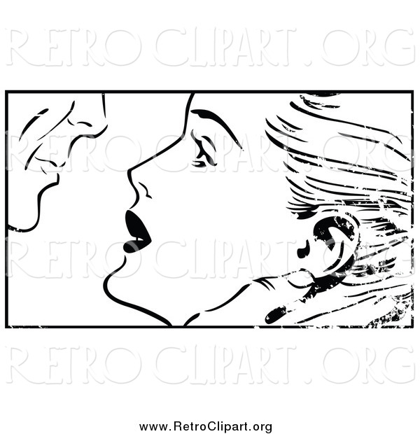 Clipart of a Distressed Pop Art Couple About to Kiss Black and White