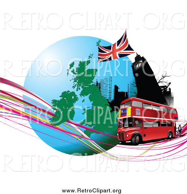 Clipart of a Double Decker Bus Passing Big Ben with a Globe and Waves