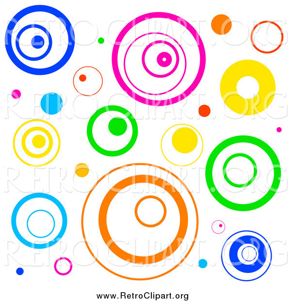 Clipart of a Funky Background with Retro Circles