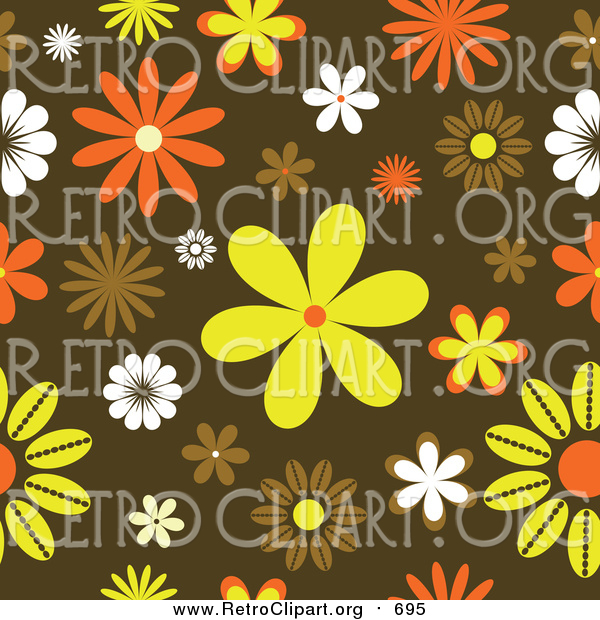 Clipart of a Funky Orange, Yellow and Brown Retro Floral Background