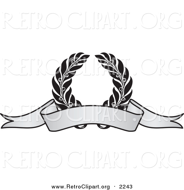 Clipart of a Grayscale Award Crest and Blank Banner