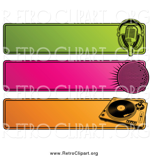 Clipart of a Green, Pink and Orange Retro Website Headers of a Microphone, Disco Ball and Record Player