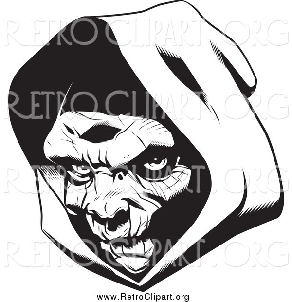 Clipart of a Grim Reaper Head with a Hood