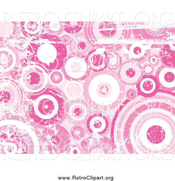 Clipart of a Grunge Background of Distressed Pink and White Circles