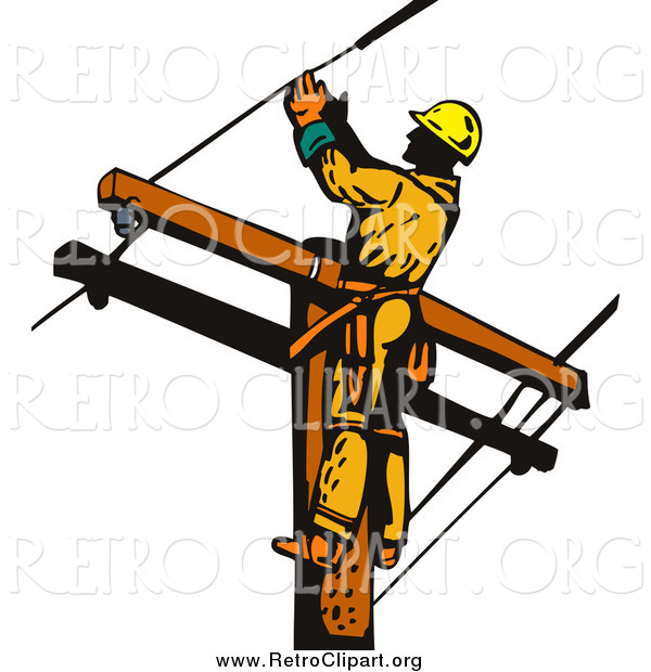 Clipart of a Lineman Worker on a Pole