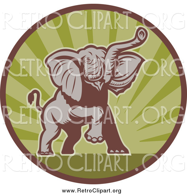 Clipart of a Mad Elephant Charging in a Green Ray and Brown Circle