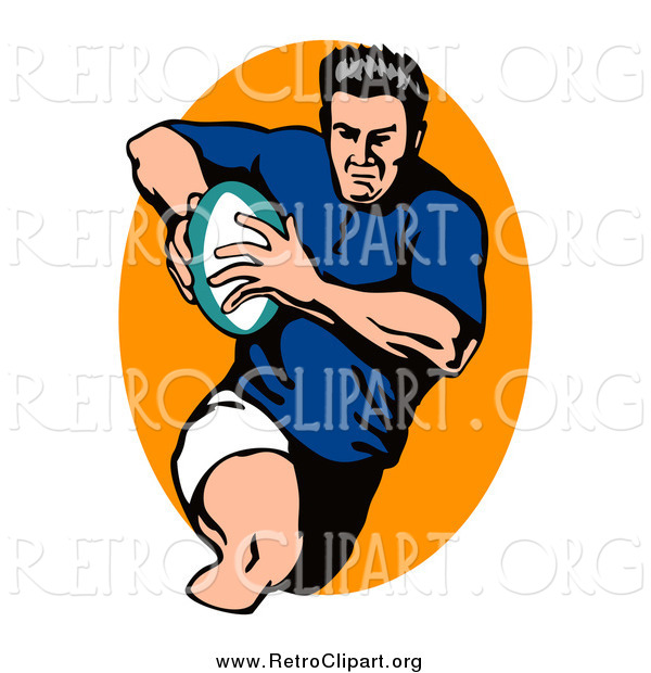 Clipart of a Male Retro Rugby Football Player