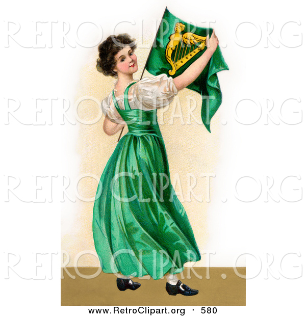 Clipart of a Patriotic Irish Lady Wearing a Green Dress, Holding an Irish Flag, Circa 1907