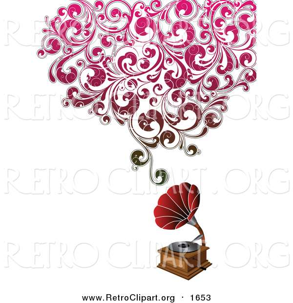 Clipart of a Phonograph with Grungy Red Floral Sound