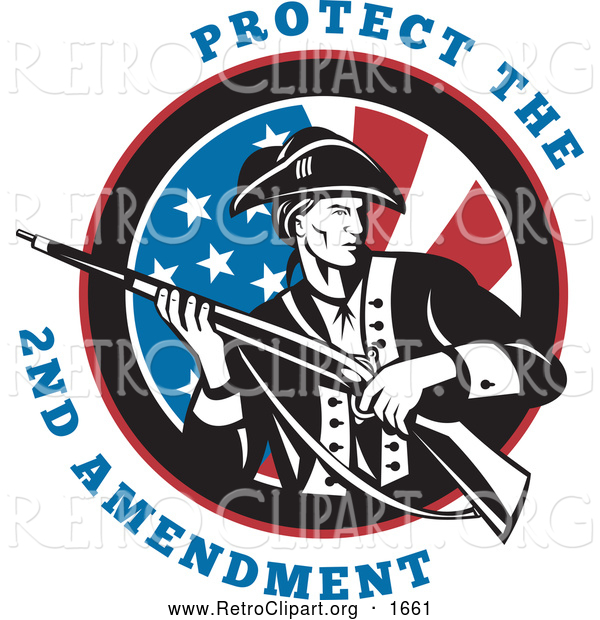 Clipart of a Protect the 2nd Amendment Text with a Revolutionary War Soldier Holding a Rifle over an American Flag