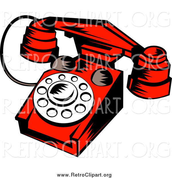 Clipart of a Red Retro Desk Telephone