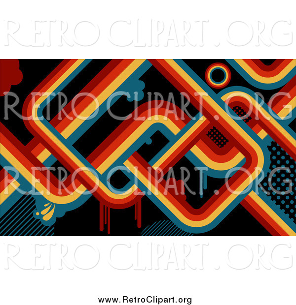 Clipart of a Retro Background of Red, Orange, Yellow and Blue Lines and Drips over Black