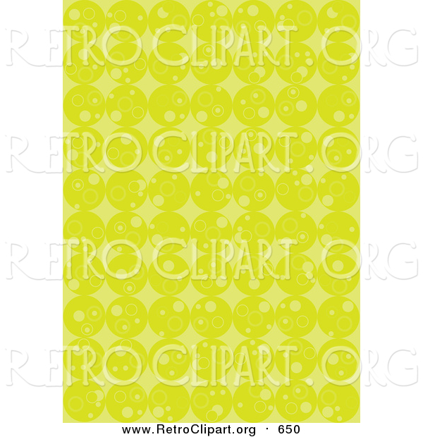 Clipart of a Retro Background of Rows of Lime Green Circles and Diamonds